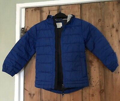 Royal Blue Mini Boden Boys Hooded Quilted Coat Age 5-6