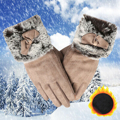 Plus Velvet Cashmere Gloves Touch Screen Mittens Faux Fur Gloves Thicken Warm