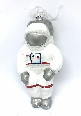 New Astronaut Space Whimsical Glass Christmas Tree Ornament White