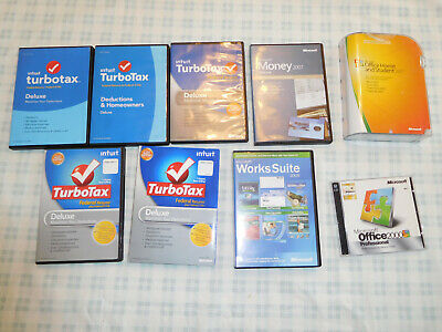 Lot Microsoft Office Home Student 2007 Money Deluxe Turbotax 2016 2014 2013 2012