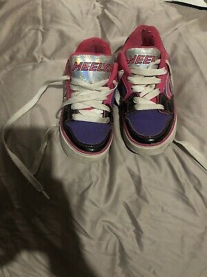 Girls Heelys size 13 Pink White & Purple One Wheel Type