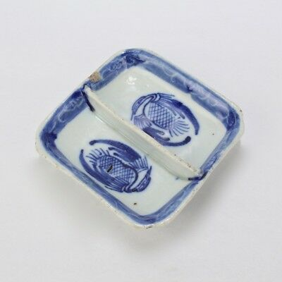 Old Or Antique Chinese Export Blue & White Porcelain Divided Pickle Dish - DC