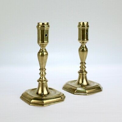 Pair of Early 18th Century French or English Faceted Brass Candlesticks - VR