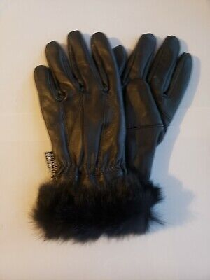 Women's Thinsulate Insulation 40gm Black Leather Gloves With Fur Trim New Sz L