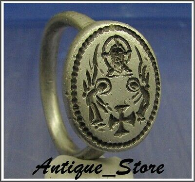 ** WOW **  JESUS of NAZARETH  ** Ancient  Silver Byzantine Ring **AMAZING **
