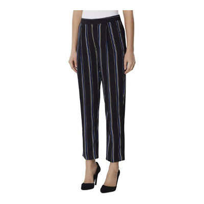 Tahari ASL Womens Striped Straight Leg Pants High Rise  Hook & Bar Zip Size 14