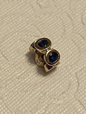 PANDORA Retired Sapphire Lights 14k Yellow Gold Spacer Charm 75295SA