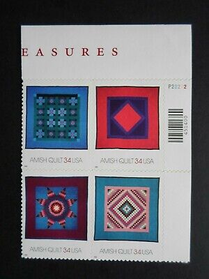 USA #3524-#3527  34 CENT 2001 AMERICAN TREASURES AMISH QUILTS STAMP SHEET