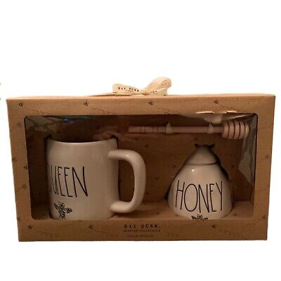 Rae Dunn By Magenta Ceramic QUEEN BEE Mug HONEY Pot With Wooden Stick Set of 2