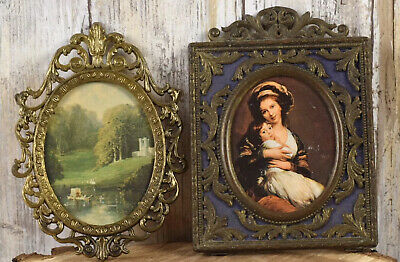 Vintage Brass Picture Photo Frame Square / Oval Made In Italy Set In Two