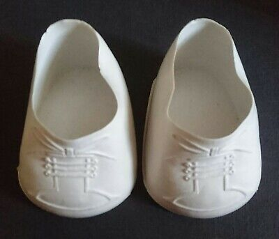 VINTAGE DOLL SHOES - WHITE RUBBER - Size 8cm -Suit Large Doll/Bear/Cabbage Patch