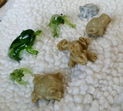 Lot Of 7 Frog Miniature  Figurines Blown Glass Marble & Stone?