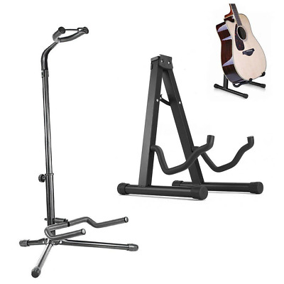 Portable Folding Guitar Stand Electric Acoustic Bass GIG Floor Rack Holder A / B