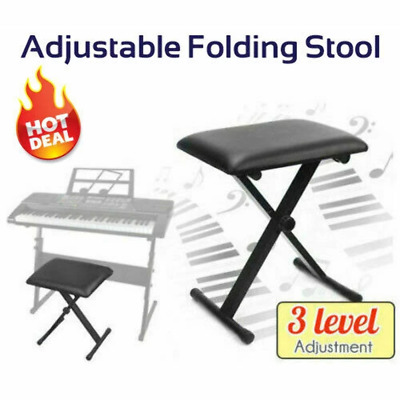 Portable Piano Stool Adjustable 3 Way Folding Keyboard Seat Bench Chair Black 75