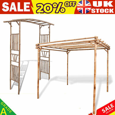 Garden Arch Pergola Feature Trellis Rose Archway Natural Tan Wooden Bamboo Large