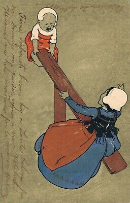 Mother and Child on a seesaw - Vintage Postcard 02.87