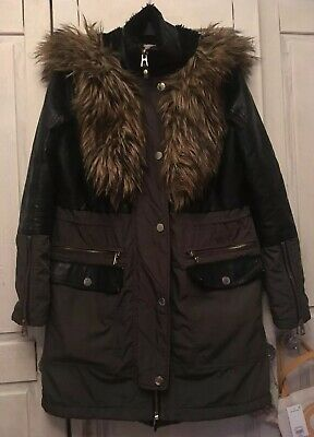 Ladies, Girls, River Island Coat, Jacket, Parka, Khaki, Hooded, Faux Fur, Size 6