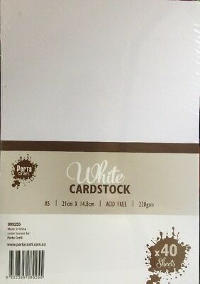 NEW - WHITE - CARD STOCK - A5 - 40 PACK - 220 gsm - ACID FREE