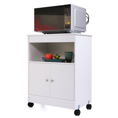 White Kitchen Microwave Cart Stand w/ Rolling Storage Cabinet Shelf Home