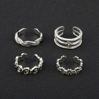 12Pcs/set Adjustable Retro Jewelry Silver Open Toe Rings HOT Ring Foot Fing Q4G1