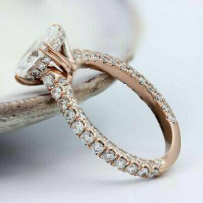 2.75 Ct Round Cut Diamond 10k Rose Gold Finish Halo Engagement Wedding Ring