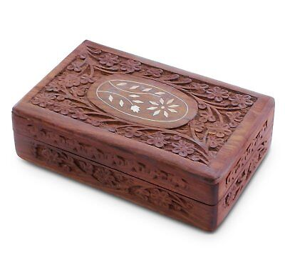 6 Inch Wooden Jewelry Storage Box Floral Indian Hand Carving Trinket Organizer