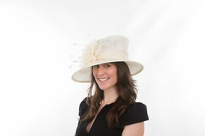 New Ladies Outdoor Occasion Wedding Formal Ivory Fascinator Hat Lauren Hat