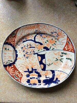 Antique RARE Early 19th Century Japanese Oval Footed Plate, Imari Style?