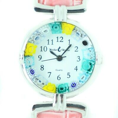 Murano Glas Uhr Verpackt Rosa Armband Silber Rand Millefiori Quarz Venice Kunst