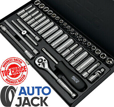 """Pro ¼"""" Drive Socket Set Metric & Imperial Deep Ratchet Wrench Metal Case 41 Pc"""