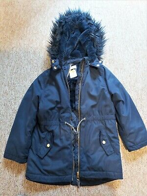 VGC Girls H&M navy blue fur hooded jacket size 6-7 Years