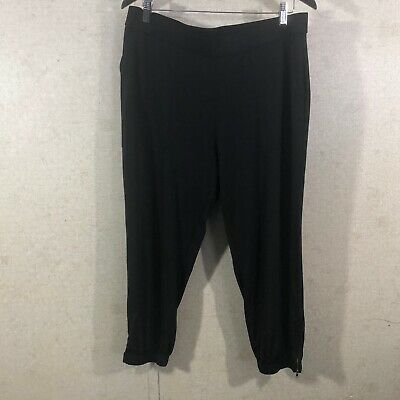 Lisa Rinna Collection Women's Size L Banded Bottom Knit Crop Pants Ankle Zip