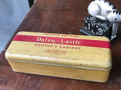 Collectors Vintage Dalzo- Lastic Doctors Cabinet First Aid Dressing Tin