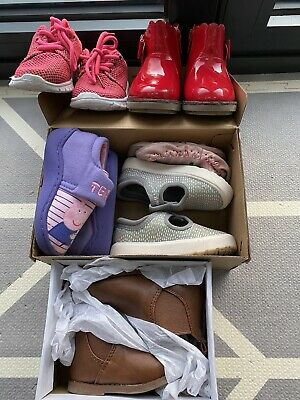 Baby Girls Shoe Bundle Size 4 Trainers Boots Slippers Clarks George 12-18 Months