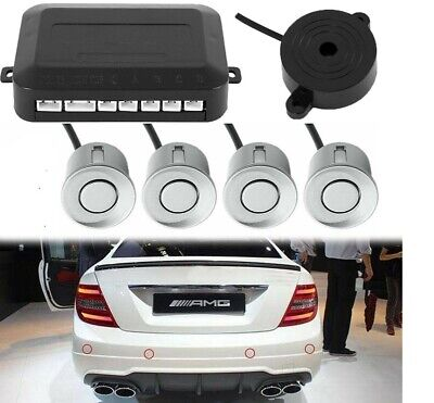 4x Silver Parking Sensors Car Reverse Backup Rear Radar Alert System Buzzer KIT