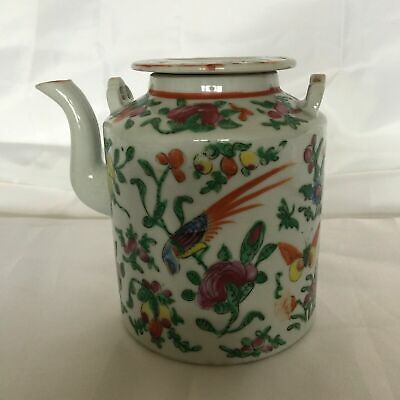 ANTIQUE 19thc  CHINESE CANTONESE CANTON FAMILLE ROSE HAND PAINTED TEA POT