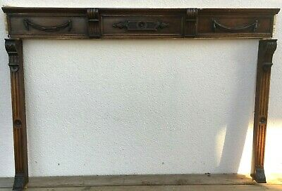 Antique french black forest furniture frame front early 1900's wood fireplace