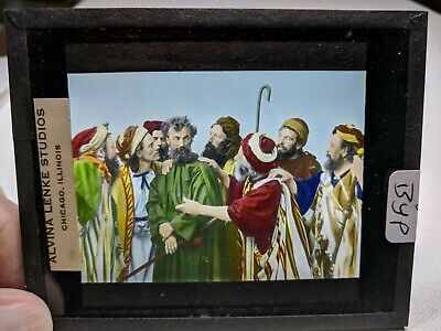 COLORED Glass Magic Lantern Slide BYP Cast on THE STAGE PASSION PLAY CHRIST #50