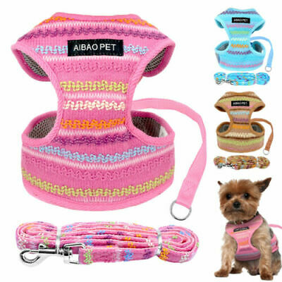 Breathable Small Dog Harness and Leash Set Mesh Padded Chihuahua Walking Vest