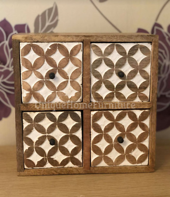 Rustic Chest Drawers Solid Wooden Trinket Box Small Jewellery Storage Cabinet