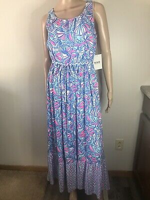 NWT Lilly Pulitzer for Target Girls' Size My Fans Blue Maxi Dress XL