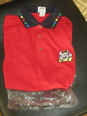 Chuck E. Cheese Employee shirt  RED Size SMALL MED XL video arcade games PIZZA