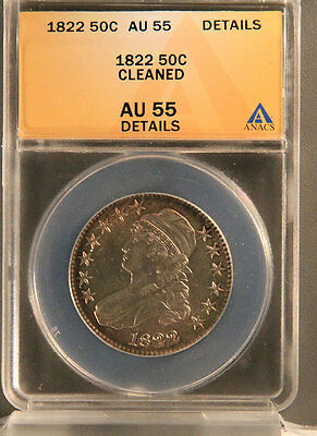 1822 Capped Bust half dollar,  O-111, ANACS certified AU 55, business strike