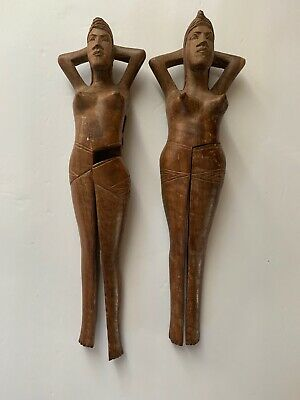 Lot Of 2 Vintage naked Woman Hand Carved Wooden NUTCRACKER Exotic