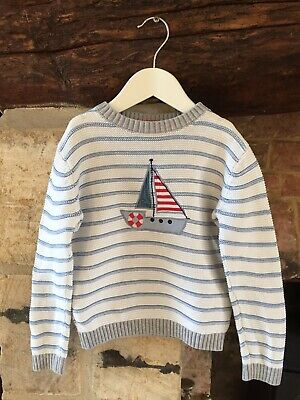 The Little White Company Cotton Sailing Boat Jumper (Age 3-4 Years)