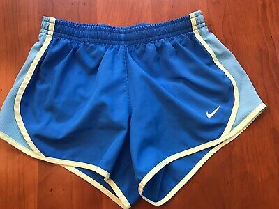 Girls Nike Dri-Fit Size S Blue w/Yellow Detail Lined Athletic Shorts