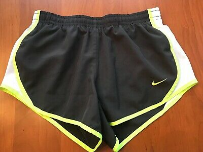 Girls Nike Dri-Fit Size S Black w/Yellow Detail Lined Athletic Shorts