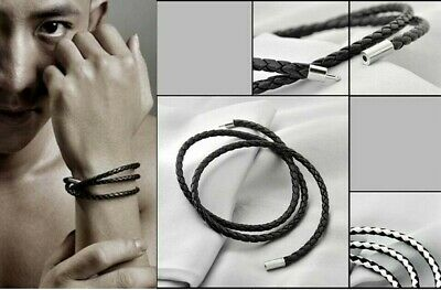 Leather Braided Rope Wrap Bracelet Wristband Multi Layer Charm Bangle Mens UK