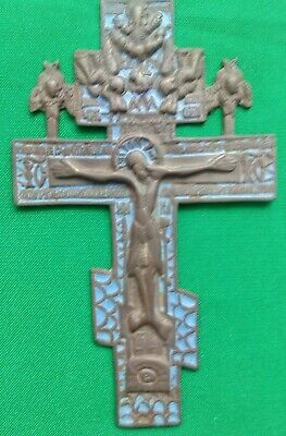 Russian Empire ancient orthodox bronze icon cross 1700-1800 original with enamel