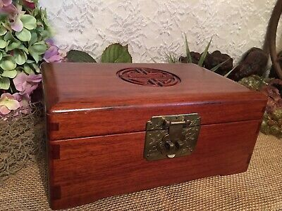 "Excellent Clean Vintage Antique Chinese Rosewood Jewelry Box 10"" X 6.5"""
